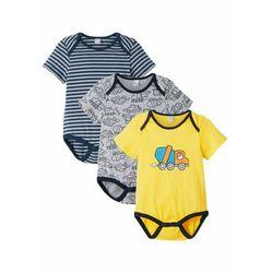 Body niemowlęce z krótkim rękawem (3 szt.) bonprix ciemnoniebieski + jasnoszary melanż + żółty tulipan