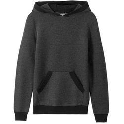 Sweter chłopięcy dzianinowy z kapturem bonprix czarno-szary
