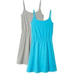Sukienka letnia (2 szt. w opak.) bonprix jasnoszary melanż- błękit laguny