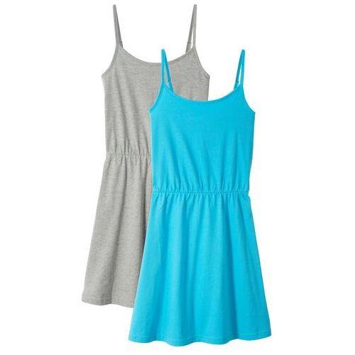 Sukienki dla dzieci, Sukienka letnia (2 szt. w opak.) bonprix jasnoszary melanż- błękit laguny