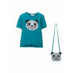 Shirt dziewczęcy + torebka z cekinami (2 części) bonprix morski turkusowy
