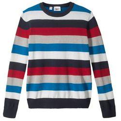 Sweter chłopięcy dzianinowy w paski bonprix niebiesko-czerwono-biały w paski