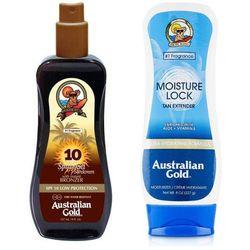 Australian Gold SPF 10 Spray Gel Bronzer and Moisture Lock | Zestaw do opalania: spray do opalania z bronzerem 237ml + balsam po opalaniu 227g