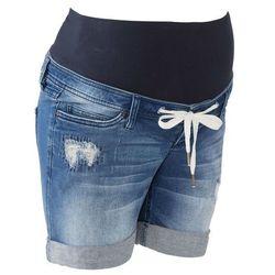 """Szorty dżinsowe ciążowe z wiązanym troczkiem bonprix niebieski """"stone"""""""