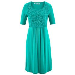 Sukienka z koronkową wstawką, krótki rękaw bonprix szmaragdowy