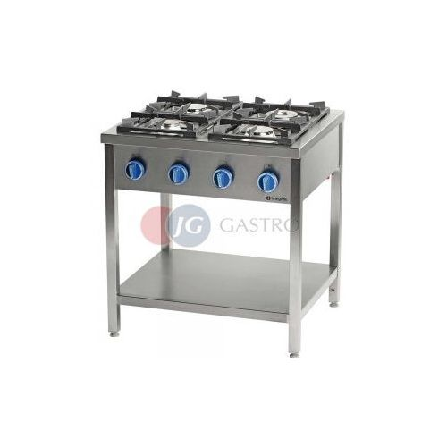 Piece i płyty grzejne gastronomiczne, Kuchnia gazowa wolnostojąca 4-palnikowa z półką 20,5 kW G30 Stalgast 999513
