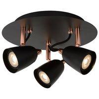 Lampy sufitowe, RIDE-LED - Plafon Reflektorków obrotowych 3-punktowy Metal Czarny/Miedź Ø25cm