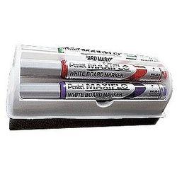 Markery do tablic suchościeralnych MAXIFLO Pentel MWL5S, 4 kolory + gąbka