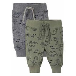 Spodnie niemowlęce shirtowe (2 szt.), bawełna organiczna bonprix oliwkowo-szary melanż wzorzysty