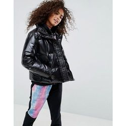 ASOS Padded Jacket in Wet Look - Black
