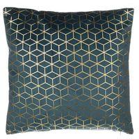 Poduszki, Poduszka dekoracyjna wzorzysta welur ciemnoniebieska 45 x 45 cm