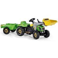 Traktory dla dzieci, Rolly Toys Traktor Kid JCB z Przyczepą i Łyżką