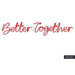 SELSEY Neon na ścianę Letely z napisem Better Together czerwony