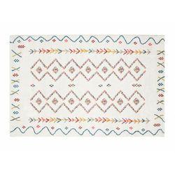 Dywanik pod łóżko JAVA w stylu berberyjskim – 60 × 110 cm – kolor beżowy z wielokolorowym motywem