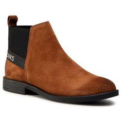 Sztyblety TOMMY JEANS - Essential Suede Chelsea Boot EN0EN01148 Winter Cognac GVI