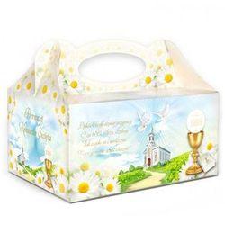 Ozdobne pudełko na ciasto komunijne z kościołem i kielichem - 1 szt.