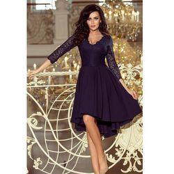 Granatowa Wieczorowa Asymetryczna Sukienka z Koronką