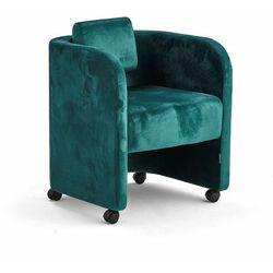 Fotel COMFY, na kółkach, welur, szmaragdowy