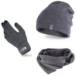 Komplet męski PaMaMi - czapka, szalik, rękawiczki - Szary