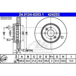 TARCZA HAM ATE 24.0124-0253.1 RENAULT CAPTUR 1.5DCI 15-/DACIA DOKKER 1.6 LPG 13-