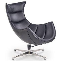 Skórzany fotel obrotowy do salonu Lavos - czarny