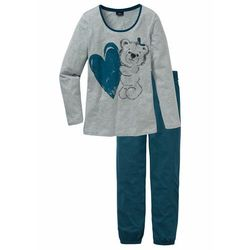 Piżama bonprix niebieskozielony z nadrukiem