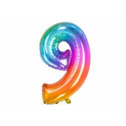Balon foliowy cyfra 9 tęczowy - 86 cm - 1 szt.