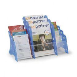 Plastikowy stojak na ulotki, stołowy, 3xA4/3xA5/3xDL, niebieski