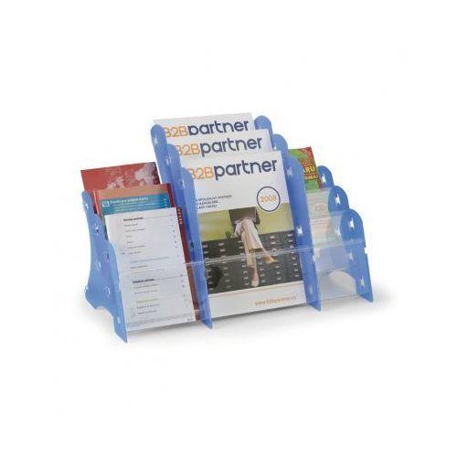 Ramy,stojaki i znaki informacyjne, Plastikowy stojak na ulotki, stołowy, 3xA4/3xA5/3xDL, niebieski
