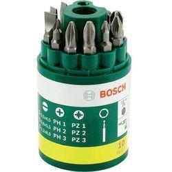 10-częściowy zestaw końcówek wkręcających Bosch z uniwersalnym uchwytem magnetycznym.