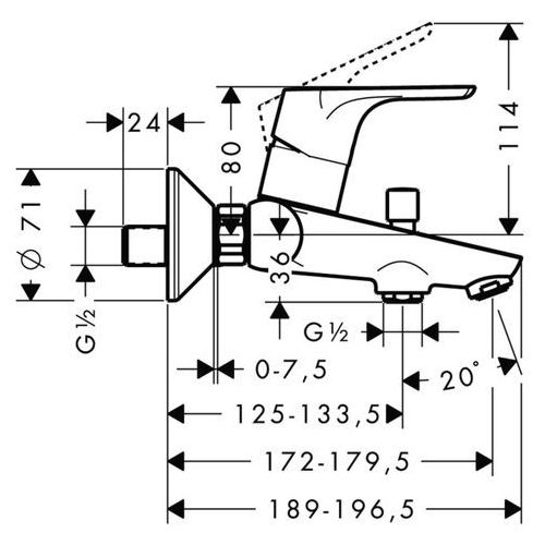 Baterie do wanien, Bateria Hansgrohe FOCUS E² 31940000