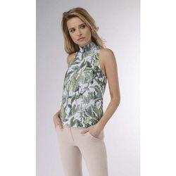 Zielona Elegancka Bluzka z Golfem bez Rękawów Elegancki Kobiecy Golf z Marszczeniami na Rękawach