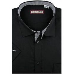 Koszula Męska Konsul gładka czarna w kroju REGULAR na krótki rękaw K950