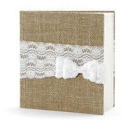 Księga gości weselnych oprawiona jutową tkaniną - 22 kartki