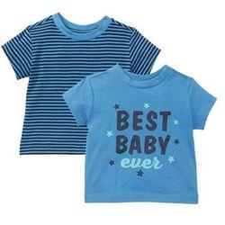 Koszulka niemowlęca (2 szt.), bawełna organiczna bonprix niebiesko-ciemnoniebieski