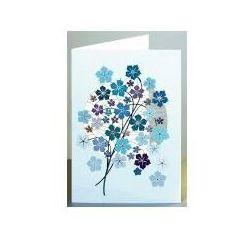 Karnet pm905 wycinany + koperta niebieskie kwiaty