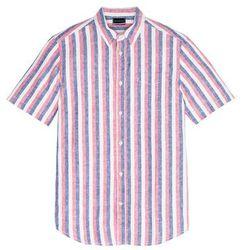 Koszula w paski z krótkim rękawem Regular Fit bonprix czerwono-piaskowo-niebieski w paski