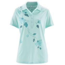 Shirt polo bonprix pastelowy miętowy - niebieski mineralny z nadrukiem