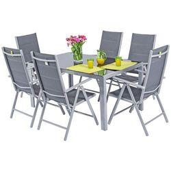Meble ogrodowe składane aluminiowe WENECJA Stół i 6 krzeseł - Srebrne Zestaw Modena (-7%)