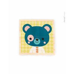 Klocki drewniane, puzzle 6w1 Janod - Zwierzątka J08001