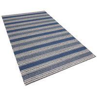Dywany, Dywan niebiesko-szary - 140x200 cm - wełna - chodnik - kilim - PATNOS