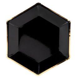 Talerzyki czarne ze złotym brzegiem - 23 cm - 6 szt.