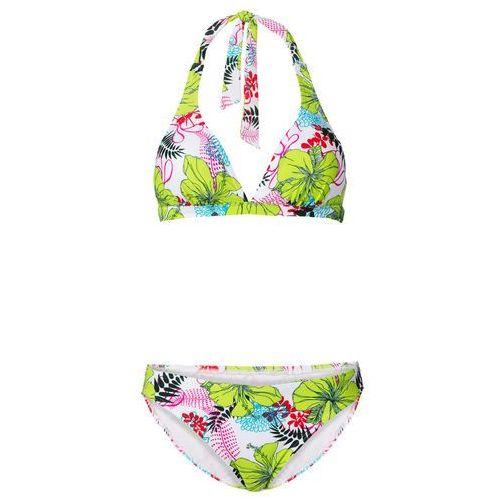 Stroje kąpielowe, Bikini z ramiączkami wiązanymi na szyi (2 części) bonprix biało-zielony z nadrukiem