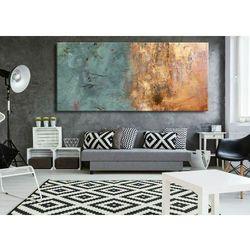 Duże obrazy nowoczesne - ręcznie malowane - pastelowy niebieski z metalicznym wykończeniem rabat 15%