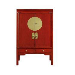 Szafa NANTONG - 2 drzwi i 2 szuflady - dł.105 cm - Drewno wiązu - Kolor: czerwony