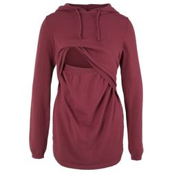 Sweter ciążowy i do karmienia, z kapturem bonprix bordowy
