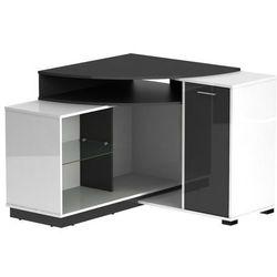 Narożna szafka RTV AMAEL z półkami - Kolor biały i antracytowy