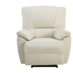 Skórzany fotel z regulowaną elektrycznie funkcją relaks MARCIS - Kość słoniowa