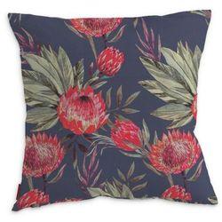 Dekoria Poszewka Kinga na poduszkę, czerwone kwiaty na czarnym tle, 50 x 50 cm, New Art