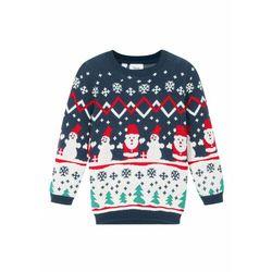 Sweter dziecięcy bożonarodzeniowy bonprix ciemnoniebieski